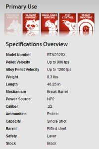 Benjamin Trail NP2 .22 Specifications