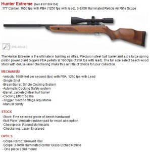 Hunter Extreme Specifications